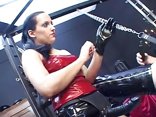 Submissive Gimp has to obey cruel german Mistress