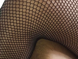 shiny pantyhose with fishnet