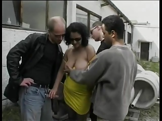 German mature whore enjoys outdoor gangbang