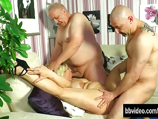 Busty german milf gets double banged