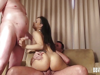 German hottie takes two cocks