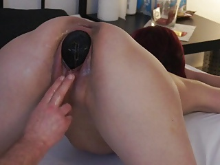 Insert Big Silikon Egg in her Large Pussy