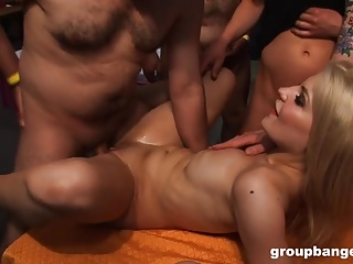 GroupBanged.com Sexy German blonde gets gangbanged