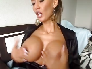 Sexy German In Hot Satin Blouse Shows Tits