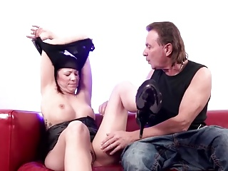 Redhead Teen banging the old guy