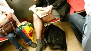 candid pantyhose in subway 274