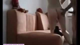 Amateur couple fuck on couch