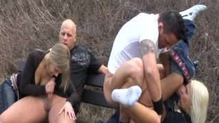 Groupsex-orgy outdoor in germany – riverside the rhine