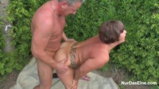 Ma seduce german young boy to fuck her in garden
