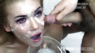Premium Bukkake – Eva swallows 94 huge mouthful cum loads