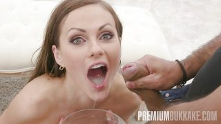 Premium Bukkake – Tina Kay swallows 68 big loads and got DP