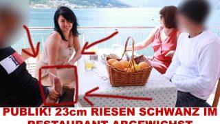 Public im Restaurant mit Alexandra-Wett! 23 cm Schwanz als Dessert!